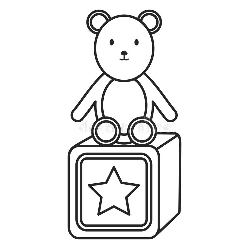 Little bear teddy with block royalty free illustration