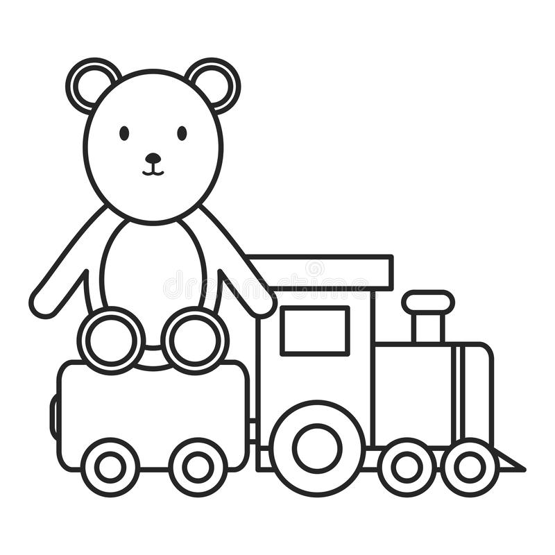 Little bear teddy with little train royalty free illustration