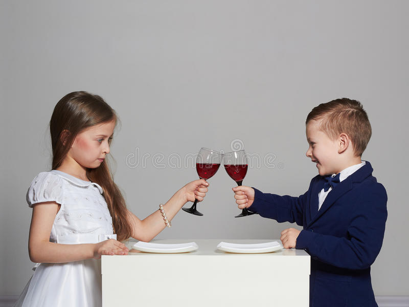 Little beautiful couple. beauty girl and handsome boy. Kids love,saint valentine celebrate stock images