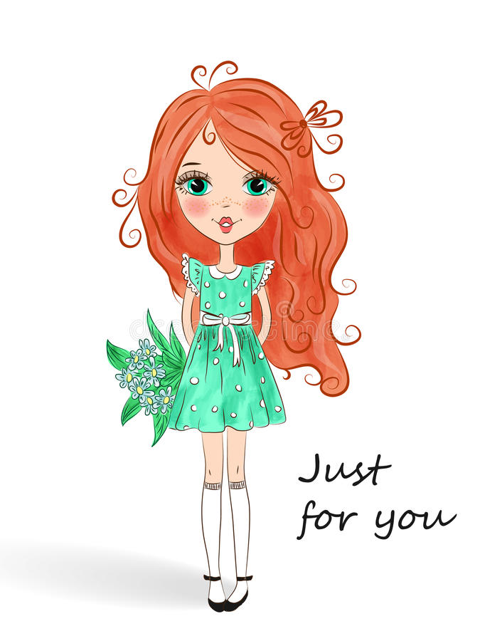 Little beautiful cute red-haired girl. vector illustration