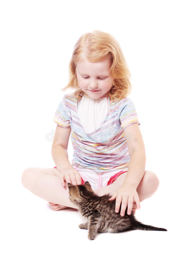 Download Little Beautiful  Girl  With Cat Royalty Free Stock Photography - Image: 18018027