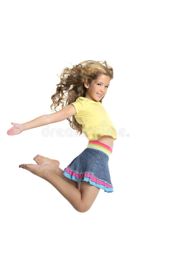 Little beautiful girl jumping royalty free stock photos