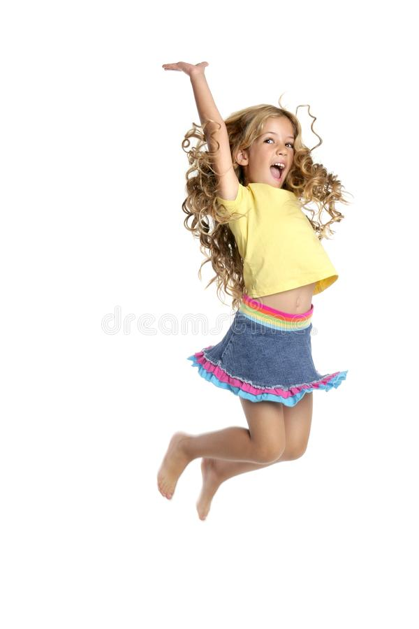 Little beautiful girl jumping royalty free stock images