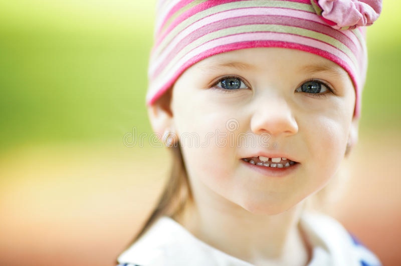 Little beautiful girl portrait. Close up royalty free stock photography