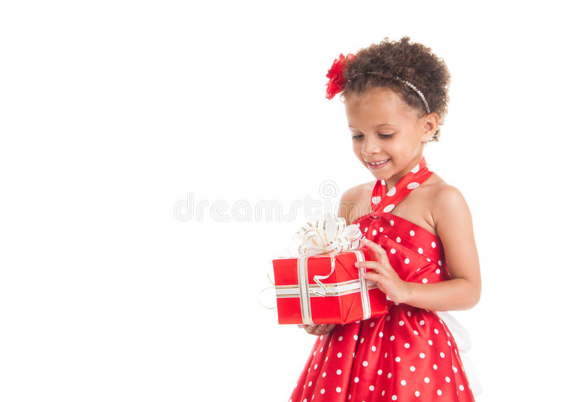 Download Little Beautiful Mulatto Girl With Gifts Stock Photo - Image: 34305558
