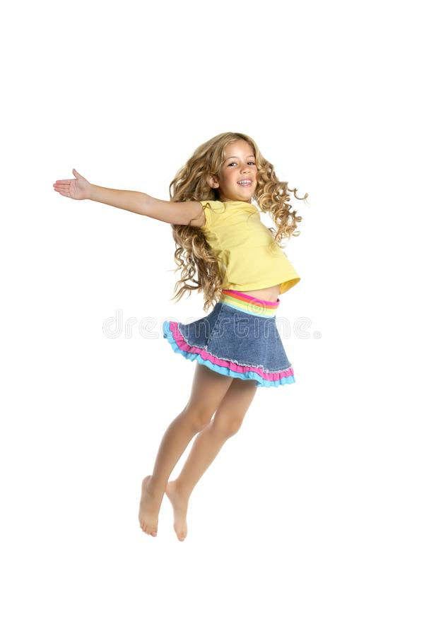 Little beautiful student girl jumping stock images