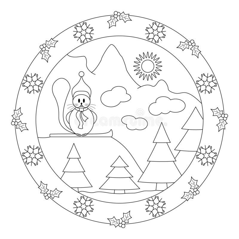 Little beaver at the top of the mountain. Decor with holly and flake. Christmas mandala. stock photo