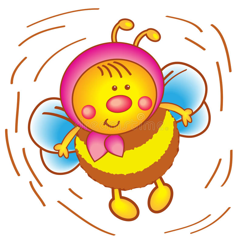 Little bee in a scarf on a white background. stock illustration