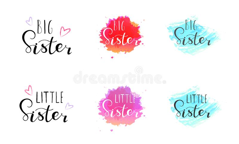 Little big sister. Lettering for babies clothes. T-shirts and nursery decorations bags, posters, invitations, cards, pillows. Brush calligraphy isolated on royalty free illustration