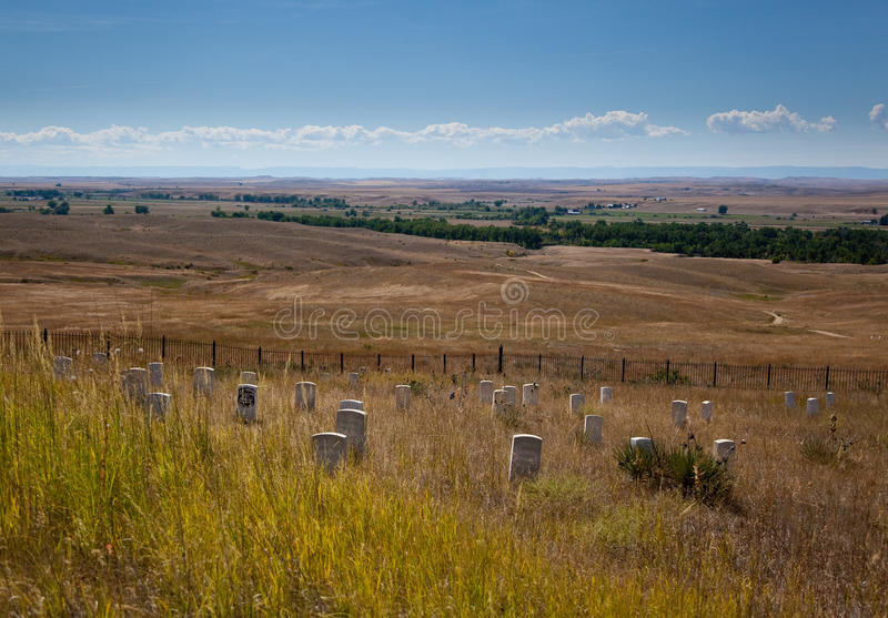 Little Bighorn battlefield. Last Stand Hill, Little Bighorn Battlefield National Monument. The markers indicate where men of the US 7th cavalry fell; Gen. Custer stock photo