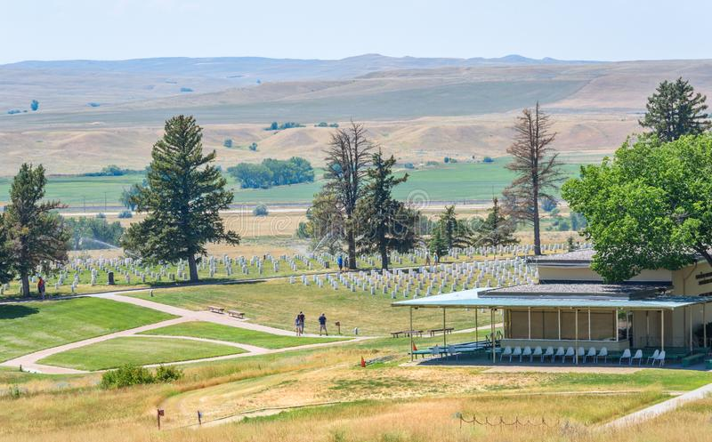 Little Bighorn pola bitwy Krajowy zabytek, MONTANA, usa - LIPIEC 18, 2017: Custer pola bitwy muzeum Custer Krajowy cmentarz wewną fotografia stock