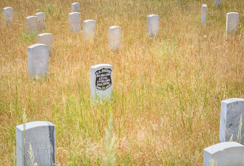 Little Bighorn pola bitwy Krajowy zabytek, MONTANA, usa - LIPIEC 18, 2017: Generała George Armstrong Custer headstone ostatnia po zdjęcia royalty free