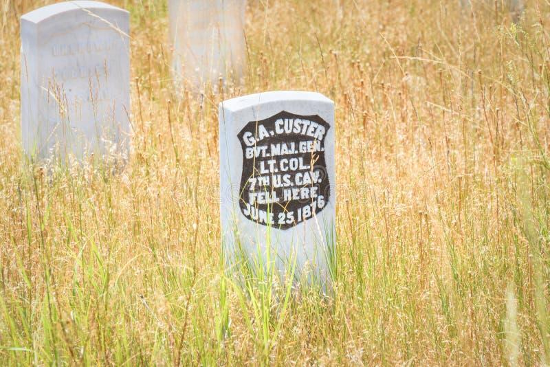 Little Bighorn pola bitwy Krajowy zabytek, MONTANA, usa - LIPIEC 18, 2017: Generała George Armstrong Custer headstone ostatnia po obraz royalty free