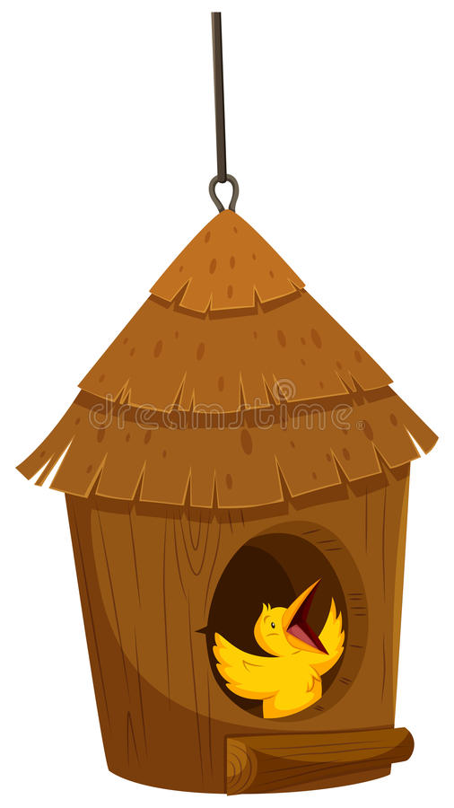 Little bird in the bird house vector illustration