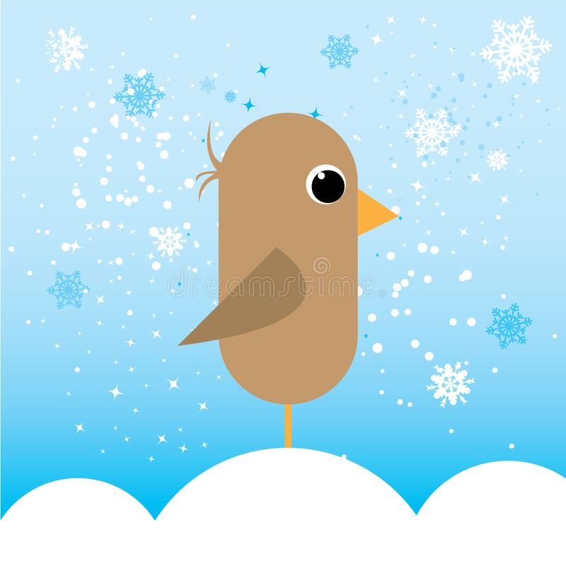 Little bird in cold illustration