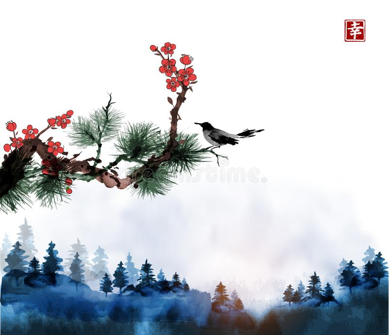 Little bird, pine tree and sakura branches and blue forest trees in fog. Traditional oriental ink painting sumi-e, u-sin stock illustration