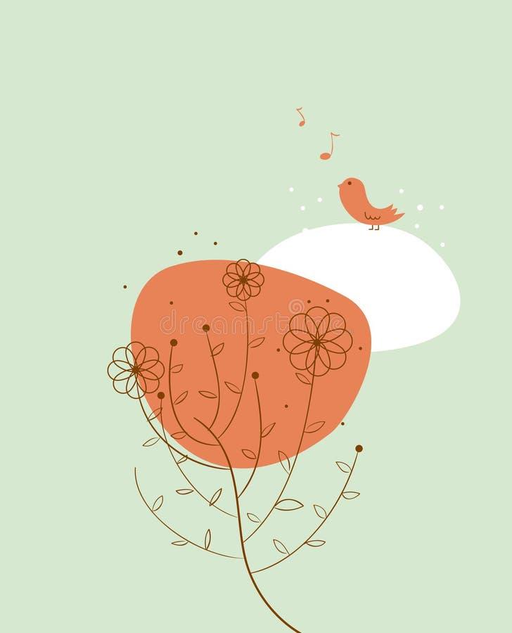 Little bird singing stock illustration