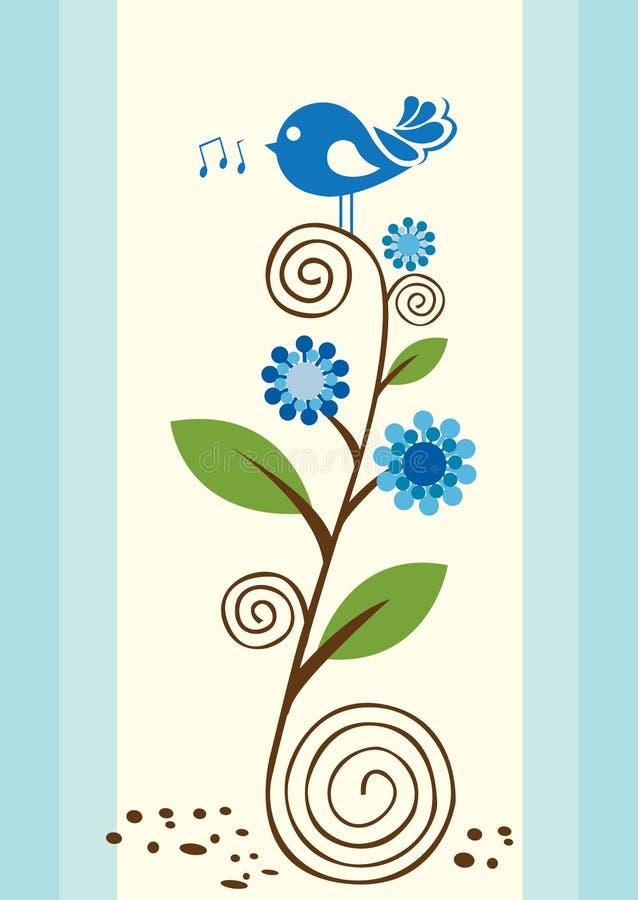 Little bird singing royalty free illustration