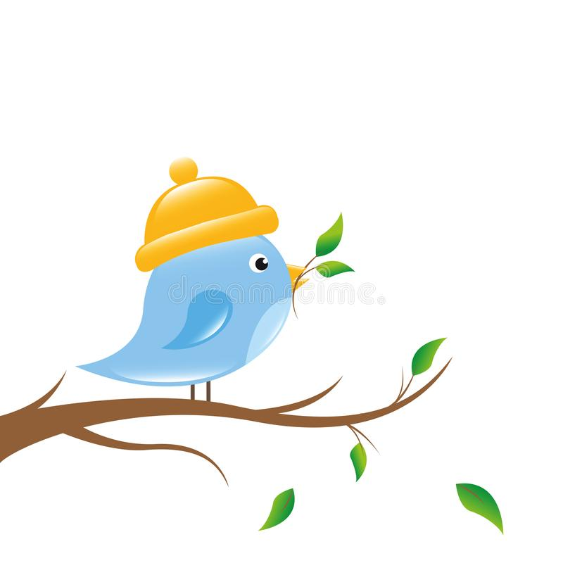 Little bird is sitting on a branch royalty free illustration