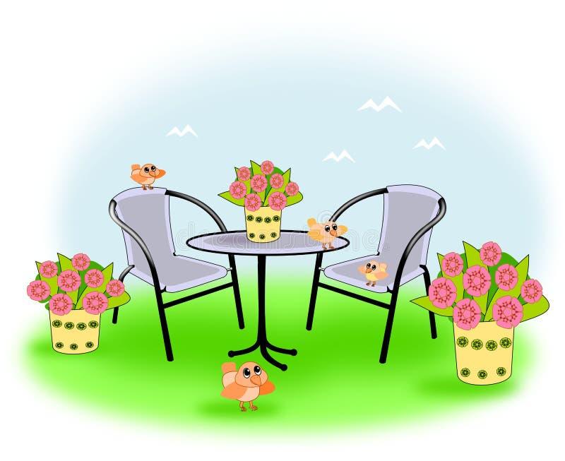 Little birds in the garden. Garden furniture in a garden, where there are little birds and pots with flowers stock illustration