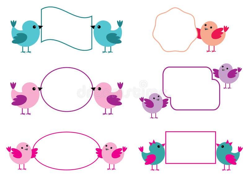Little birds hold paper forms vector illustration