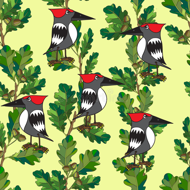 Little Birds Sing Songs. Seamless Texture. Stock Images