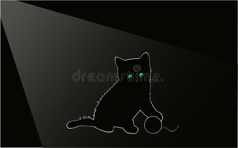 Little black kitty at night in the room royalty free stock images