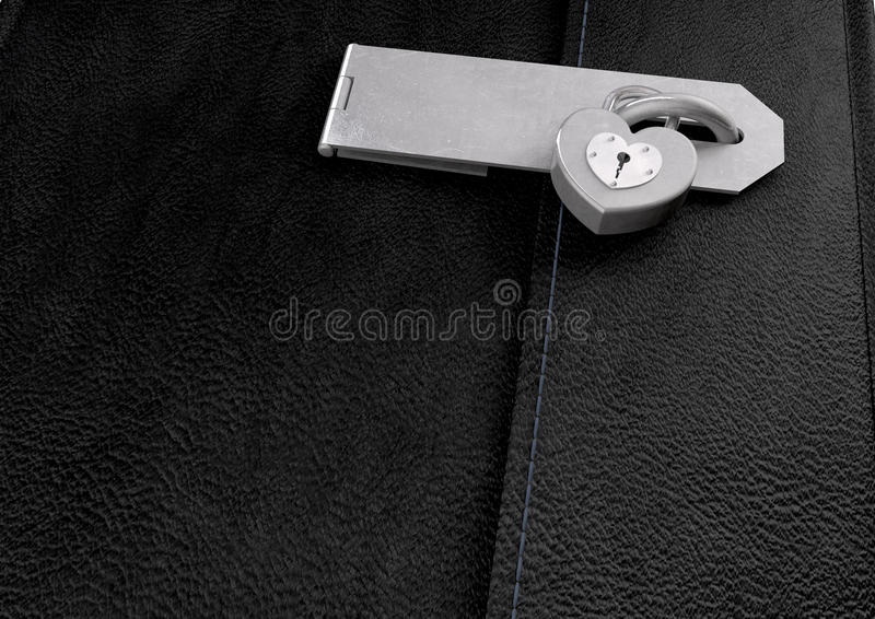 Little Black Leather Locked Diary Stock Images