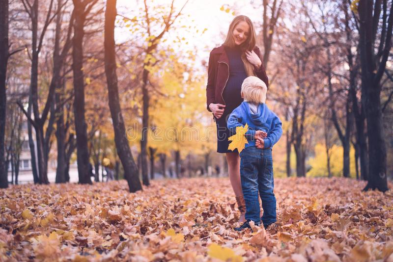 Little blond boy hid behind a yellow leaf. Wants to give mom. Autumn park on the background stock images