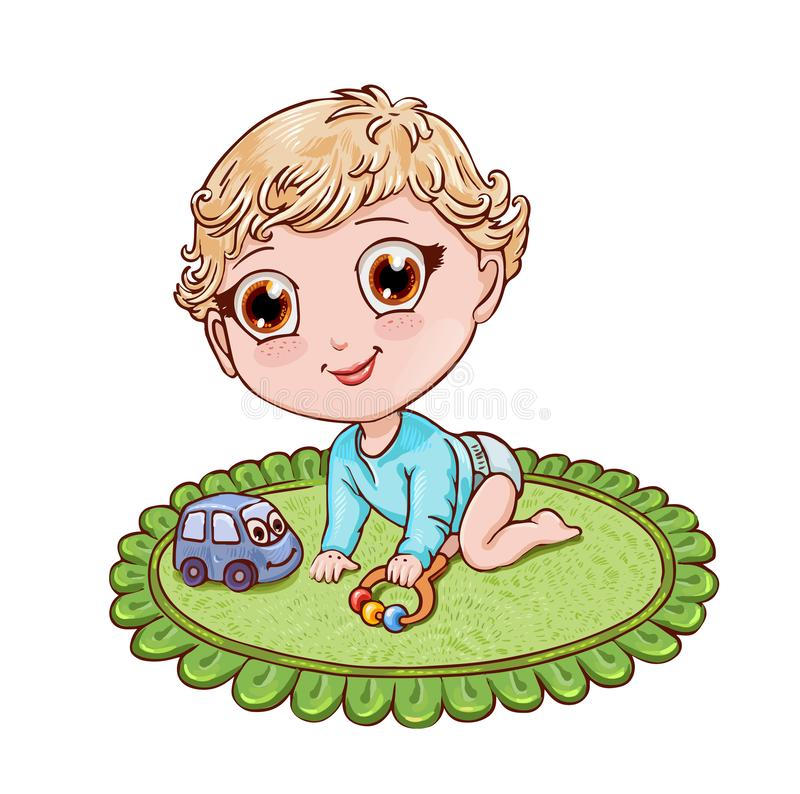 Little blond boy plays and crawls on a child's rug. Vector illustration in chibi anime style. Cute chibi boy crawls and plays with a rattle on the green stock illustration