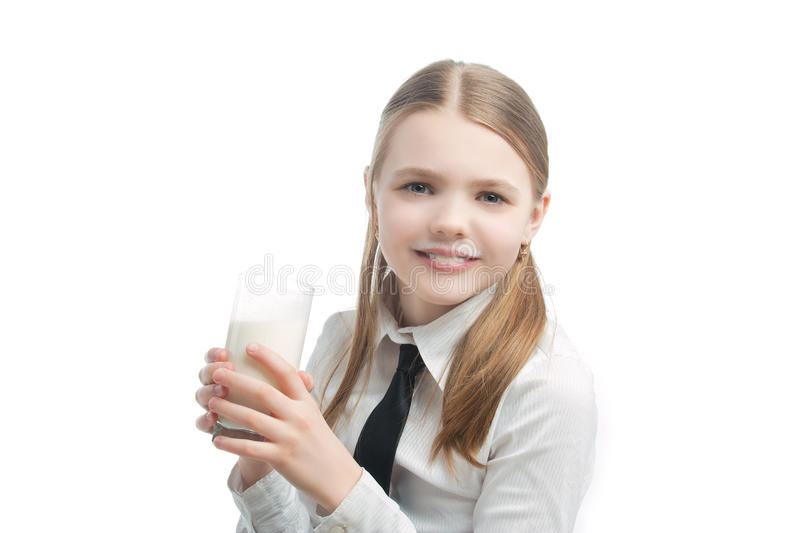 Download Little Blond Caucasian Girl Drinking Milk Stock Image - Image: 20230305