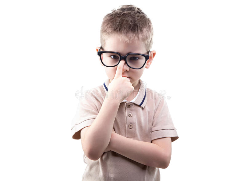 Little blond educated boy in glasses. On white background royalty free stock image