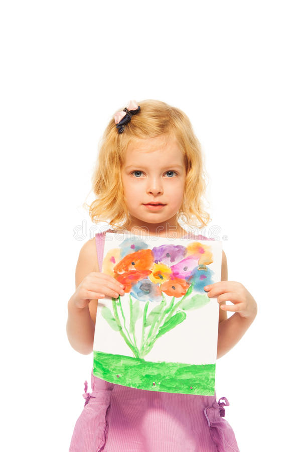 Download Little Blond Girl Showing Her Picture Stock Image - Image: 27979497