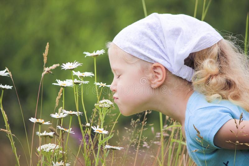 Little blond haired curly girl in a meadow. royalty free stock photo