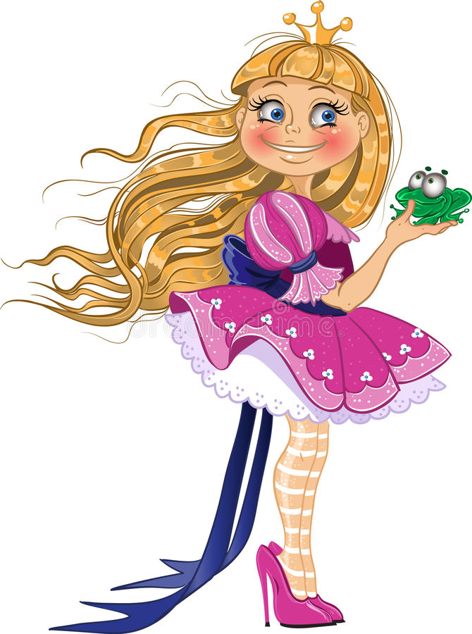 Little blond princess with frog royalty free stock photography