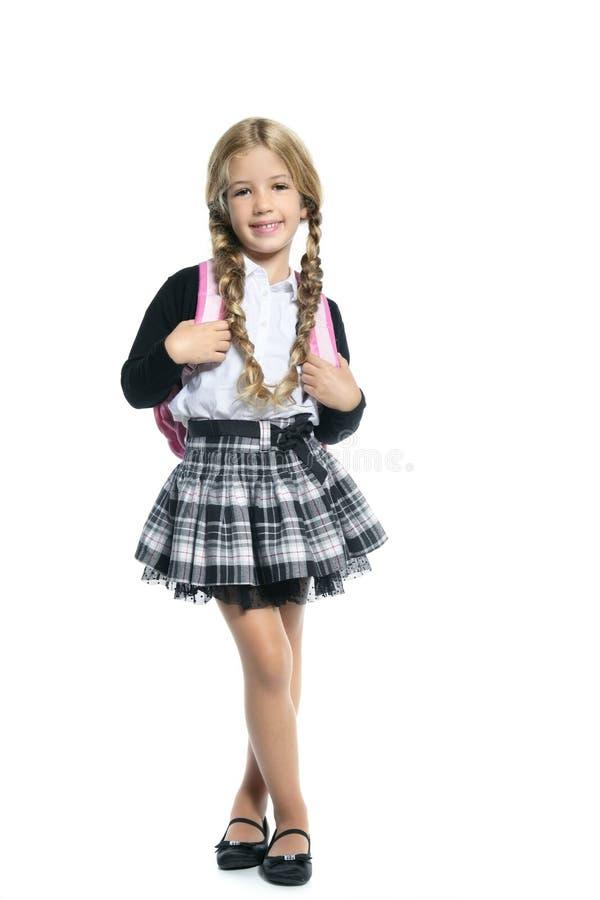 Little blond school girl with handbag royalty free stock photo