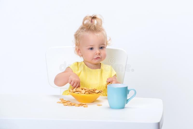 Little blonde baby girl 1 year old in yellow t-shirt eating cereal flakes and drinking a cup of milk tea at the table isolated on royalty free stock photos