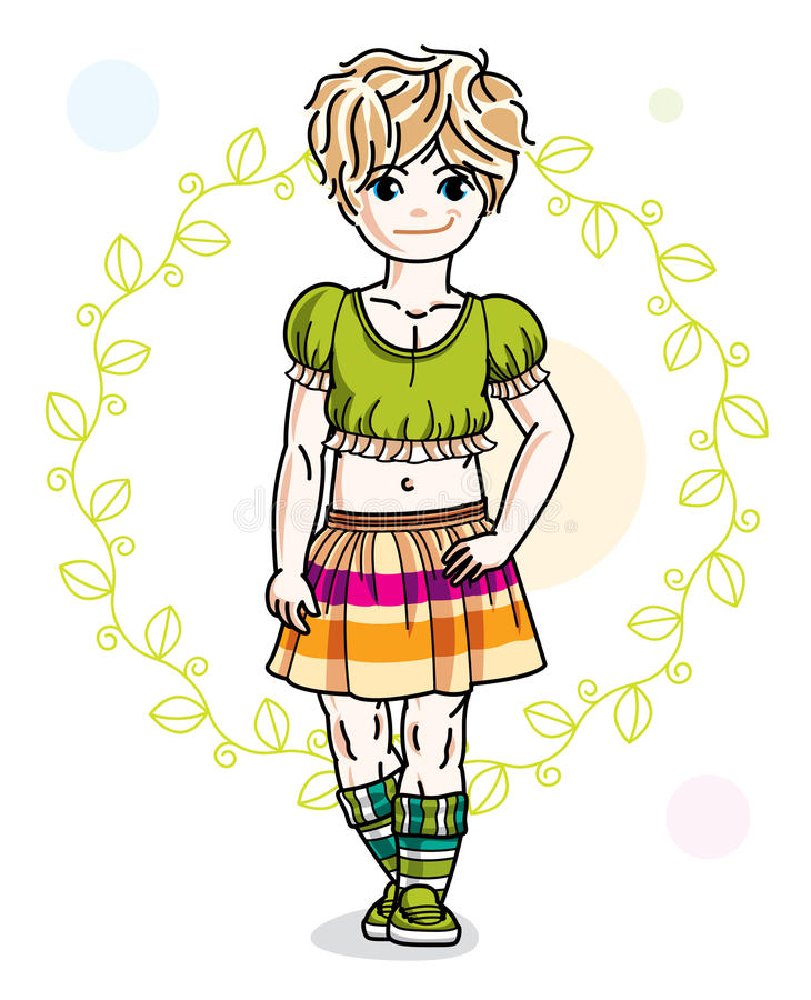 Little blonde cute girl toddler in casual clothes standing on gr. Een spring backdrop. Vector illustration of pretty child royalty free illustration