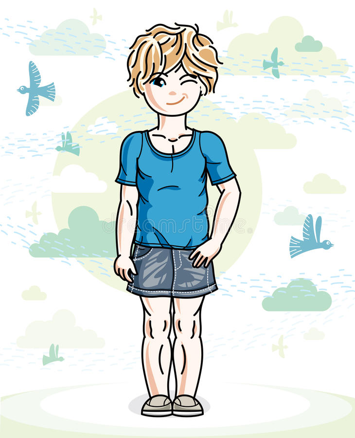 Little blonde cute girl toddler in casual clothes standing on na. Ture backdrop with birds and clouds. Vector illustration of pretty child stock illustration