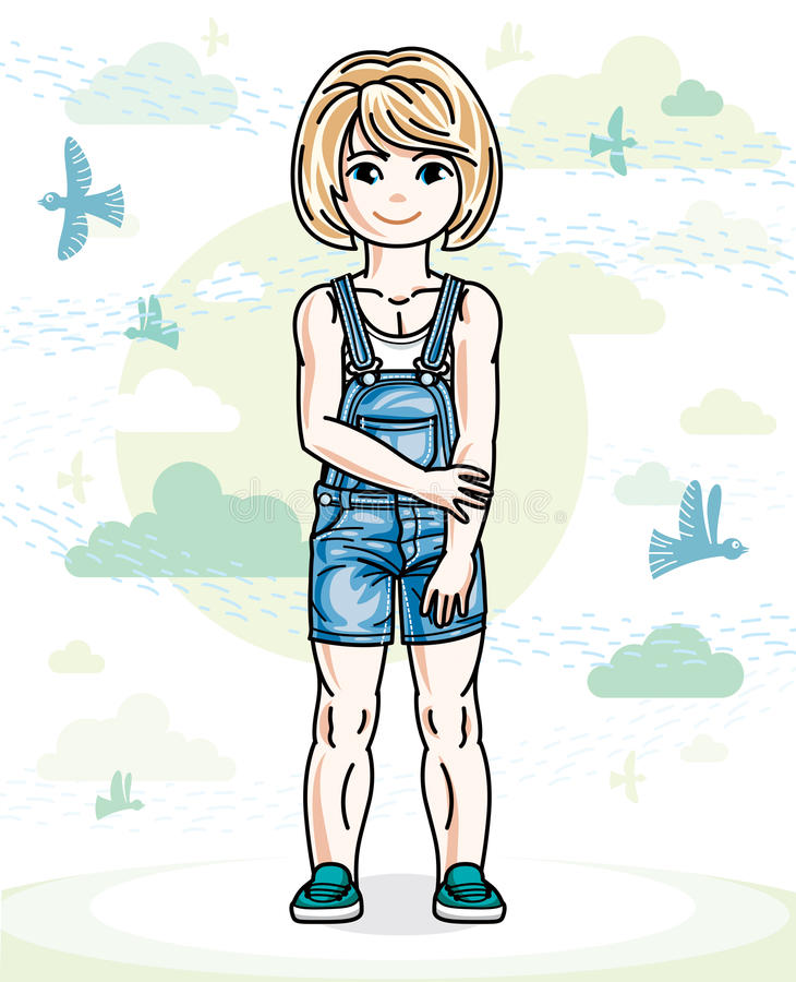 Little blonde cute girl toddler in casual clothes standing on na. Ture backdrop with birds and clouds. Vector illustration of pretty child royalty free illustration
