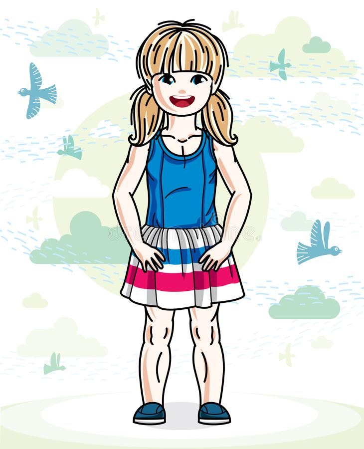 Little blonde cute girl toddler in casual clothes standing on nature backdrop with birds and clouds. Vector illustration of pretty. Child stock illustration