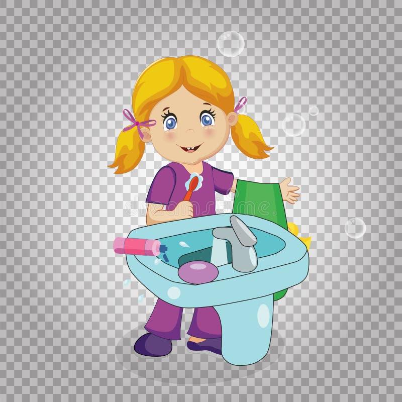 Little Blonde Girl Brushing Teeth in Bathroom stock illustration