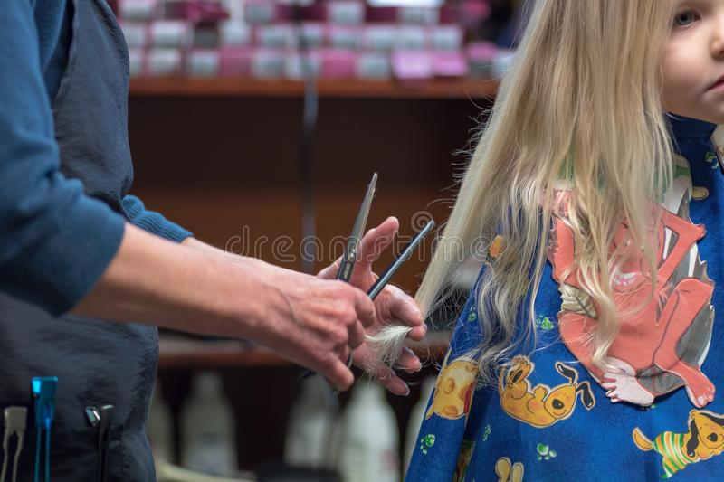 Little blonde girl getting first haircut stock image