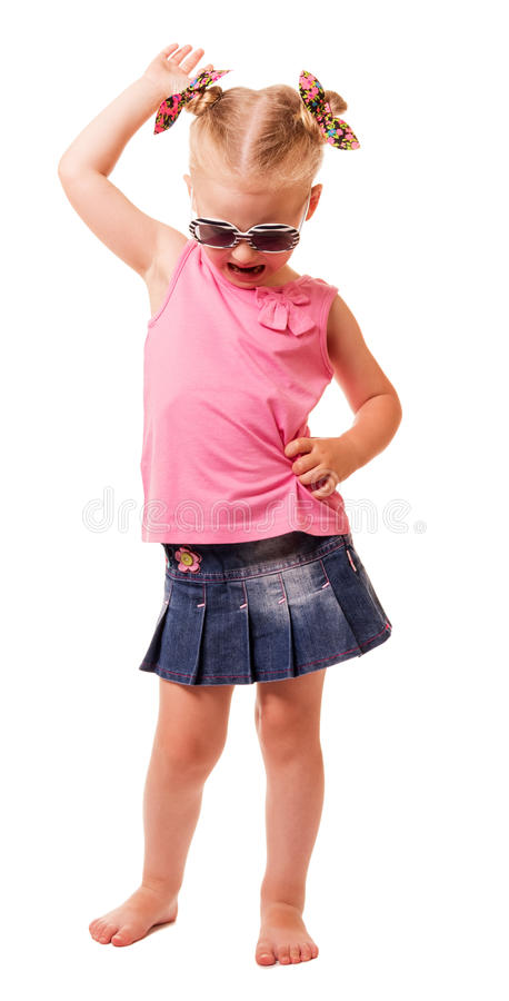 Free Little Blonde Girl In Sunglasses Tilted Her Head Down Isolated. Royalty Free Stock Images - 80281829