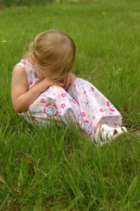 Little Blonde Girl, sad royalty free stock photography