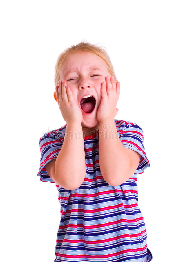 Little blonde girl screaming royalty free stock photography