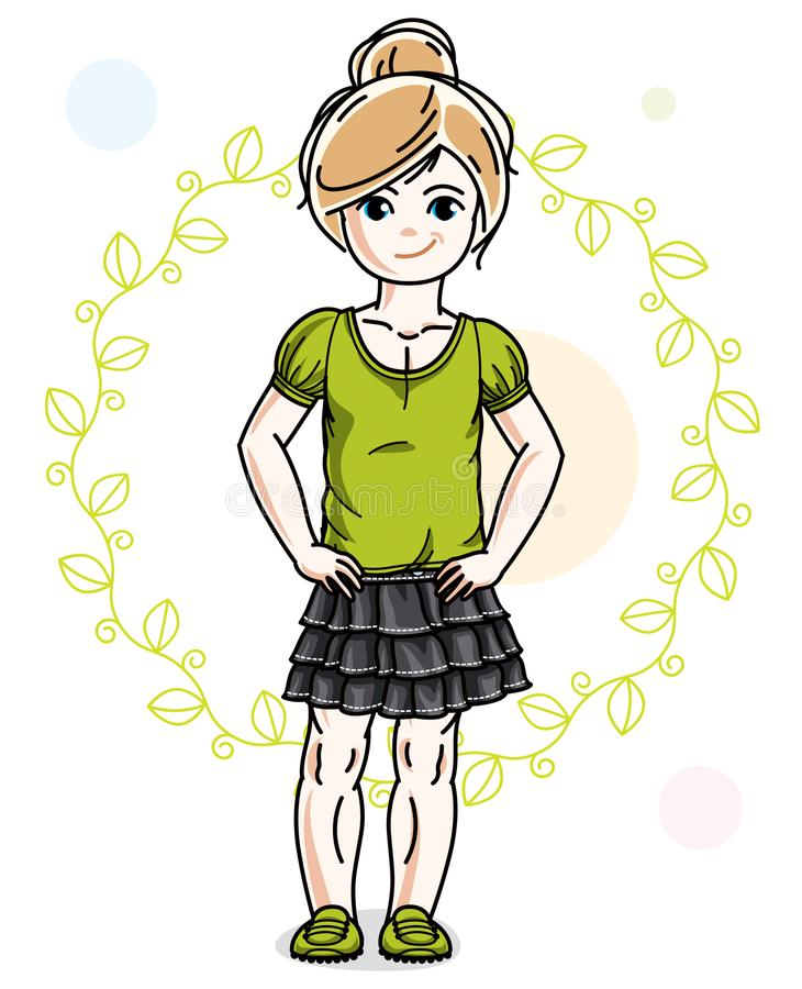 Little blonde girl toddler in fashionable casual clothes posing. On green eco background. Vector illustration of kid standing stock illustration