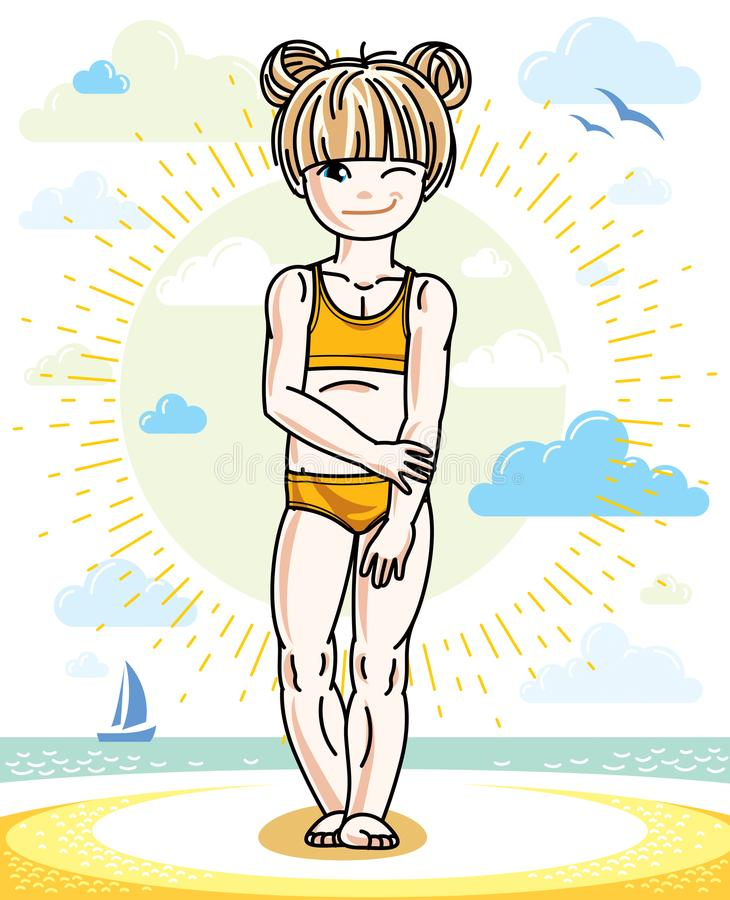 Little blonde girl toddler standing on sunny beach and wearing s. Wimming suit. Vector kid illustration. Summer holidays theme vector illustration
