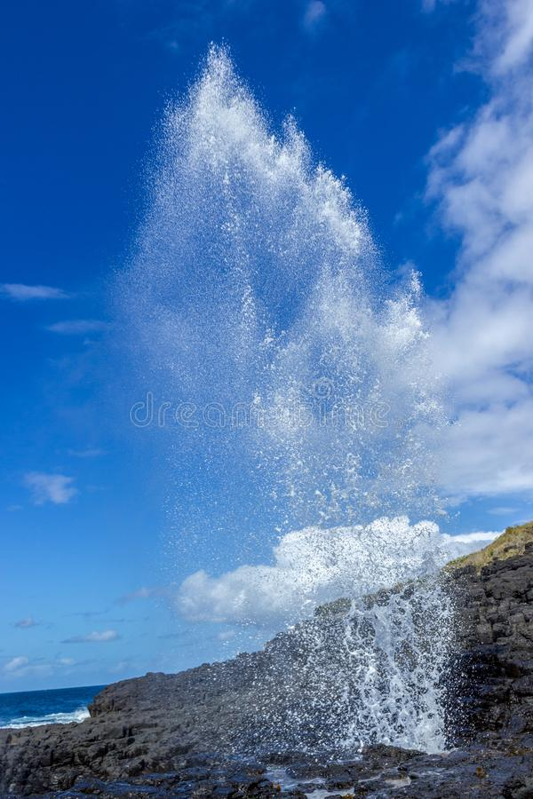 Little blowhole in Kiama on a moody sunny day with water fountain Jervis Bay, Australia royalty free stock photo