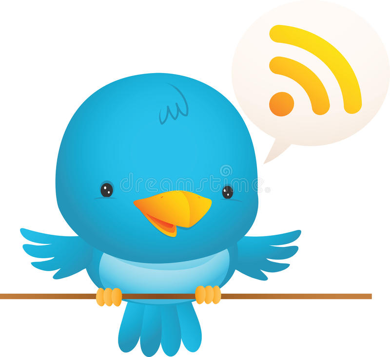 Little Blue Bird Talk royalty free illustration